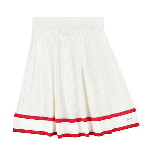 White Knit Skirt with Red Detail by Paisley