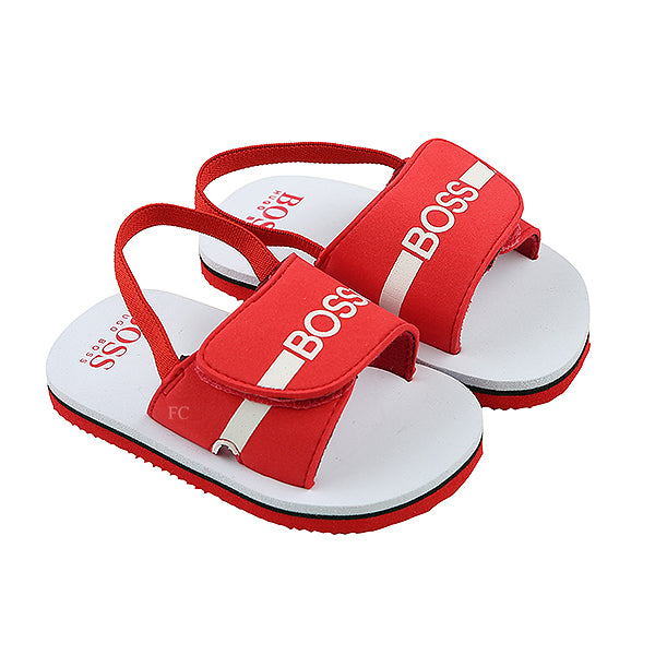 Red Velcro Logo Sandle by Hugo Boss