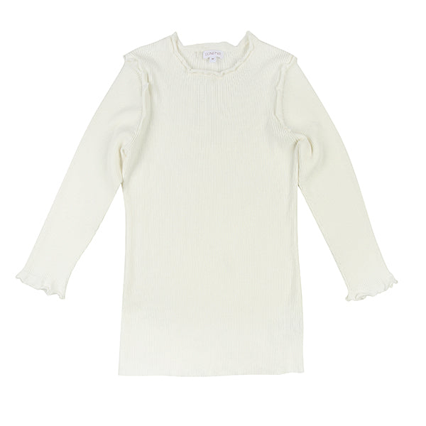 Cream Ruffle Knit Tee by Luna Mae