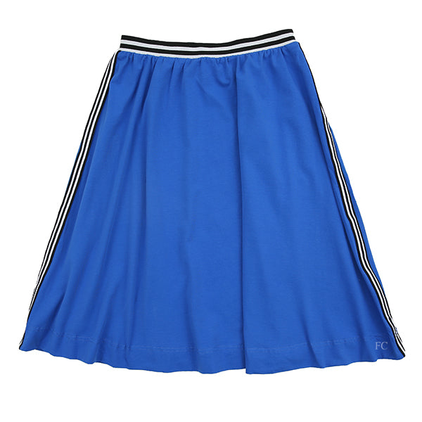 Royal Blue Circle Skirt with Ribbing by the Lines in Between