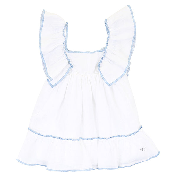 Blue Stitch White Dress by Olive