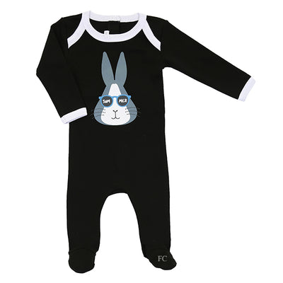 Black Boy Summer Bunny Footie by Coton Pompom
