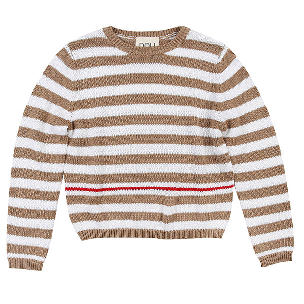 White Knitted Stripe Sweater by Dou Dou
