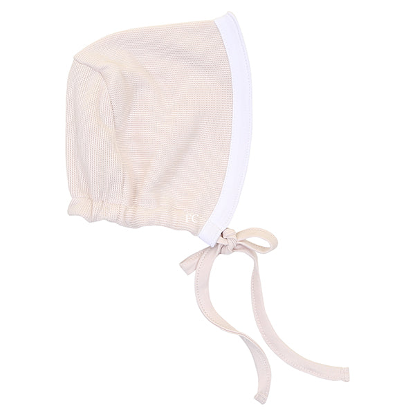Ribbon Blush White Bonnet by Mio Cotton