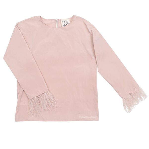 Feathered Pink Girl Blouse by DOU DOU