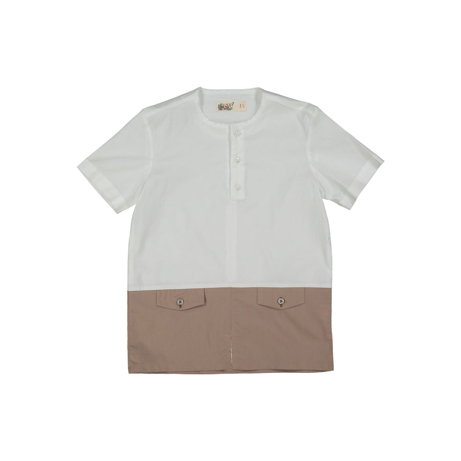 Taupe Color Block Shirt by Nove