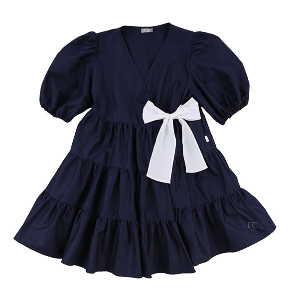 Volume Sleeve Navy Tiered Dress by Il Gufo