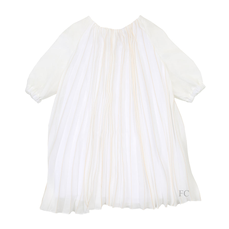 Cream Pleated Tulle Dress by Pamilla