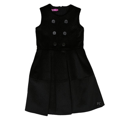 Black Sleeveless Button Dress by Val Max