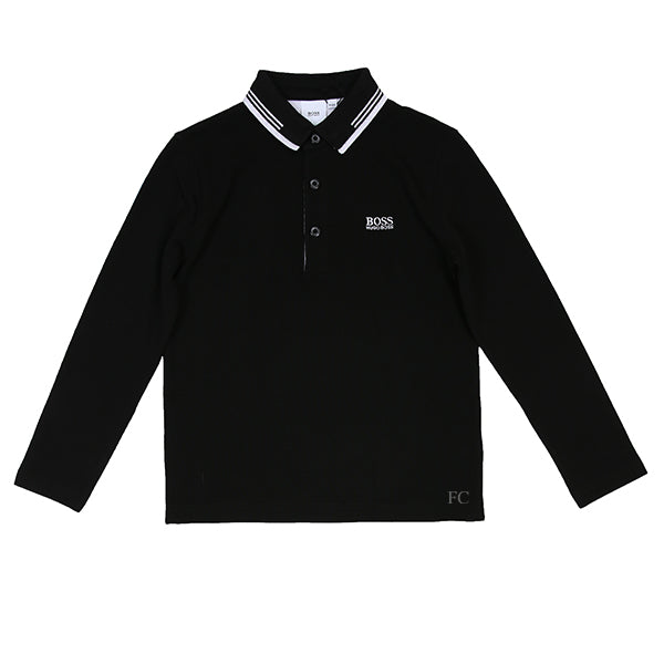 Black Logo Under Collar Polo by Hugo Boss