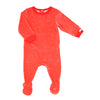 Strawberry and Cream Velour Footie by Coccoli