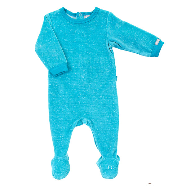 Aqua and Cream Velour Footie by Coccoli