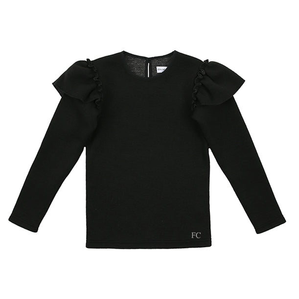 Black Ruffle Sleeve Top by Christina Rohde