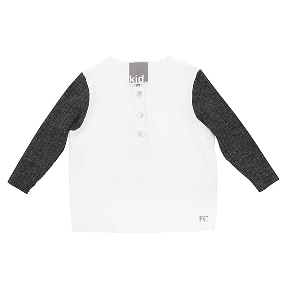 Ribbed Sleeves Henley by Kid.