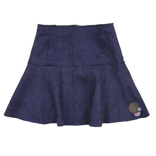 Paneled Skater Skirt in Navy Suede by Fraze