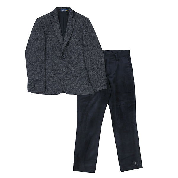 Textured Navy Suit with Velvet Pants by Euro Boys