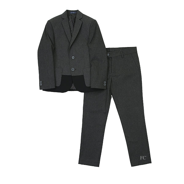 Wool Effect Charcoal Suit with Ribbing by Euro Boys