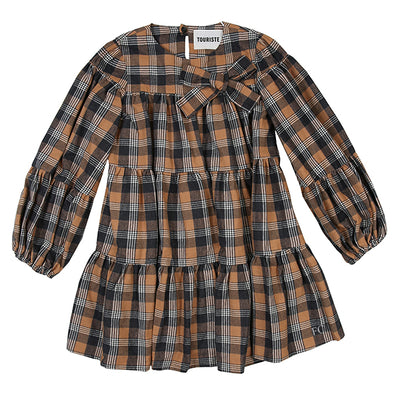 Plaid Long Sleeved Curled Crewneck Dress by Touriste
