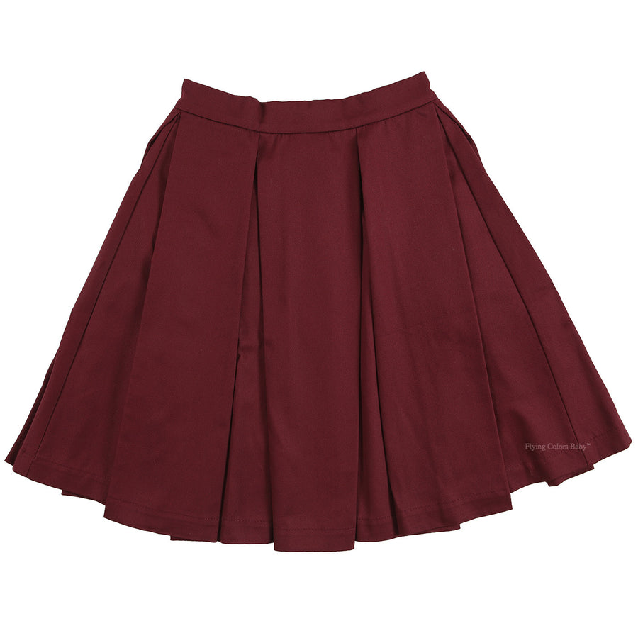Burgundy Skirt with Big Pleats by Zaikamoya - Flying Colors Baby
