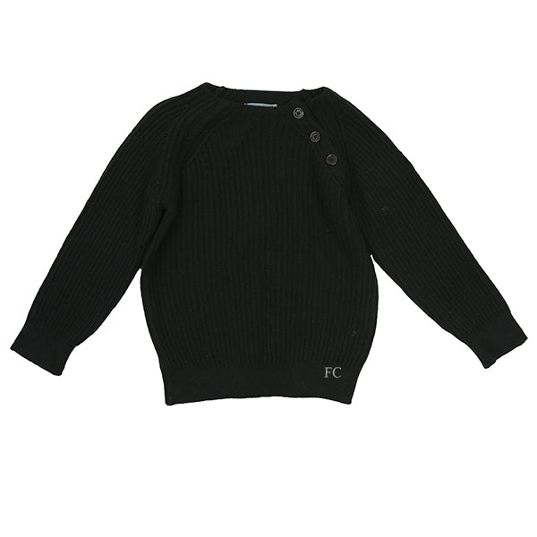 Button Black Sweater by Via Elisa