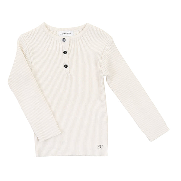 Natural Rib Button Sweater by Pequeno Tocon