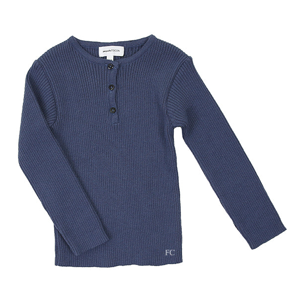 Blue Rib Button Sweater by Pequeno Tocon