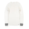 White Contrast Stripe Rib Knit Sweater by Poppy