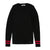 Black Fuchsia Contrast Stripe Rib Knit Sweater by Poppy