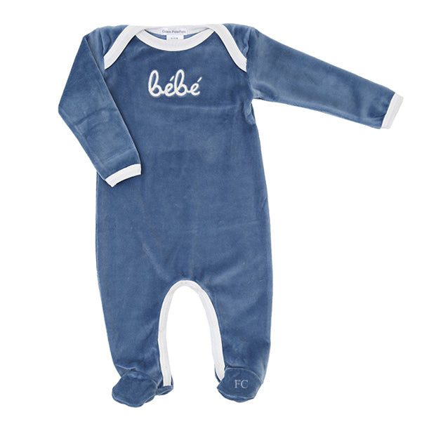 Bebe Steel Blue Footie by Coton Pompom