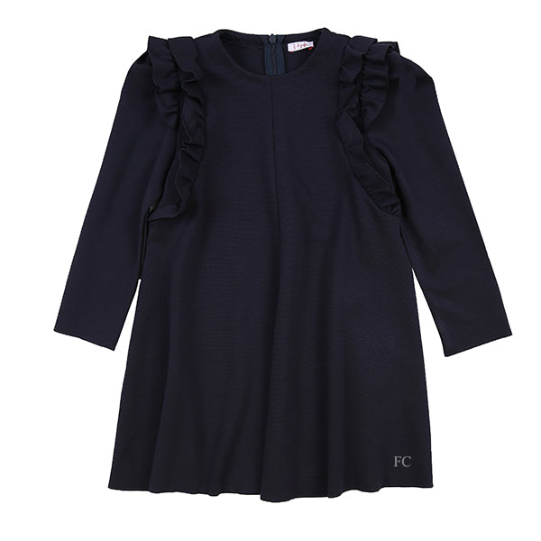 Long Sleeve Dress With Shoulder Ruffle by Il Gufo