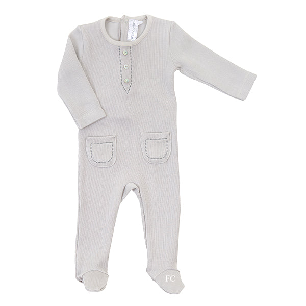 Grey Button Footie by Mio Cotton