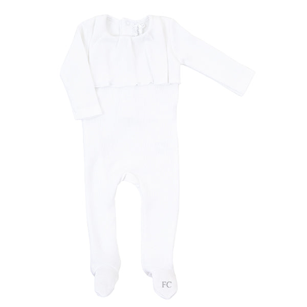 White Ruffle Footie by Mio Cotton