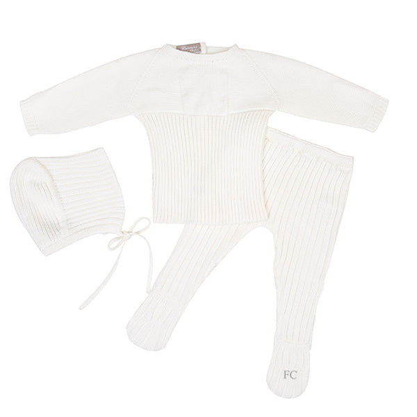 Ribbed Ivory Footed Set by Carmina