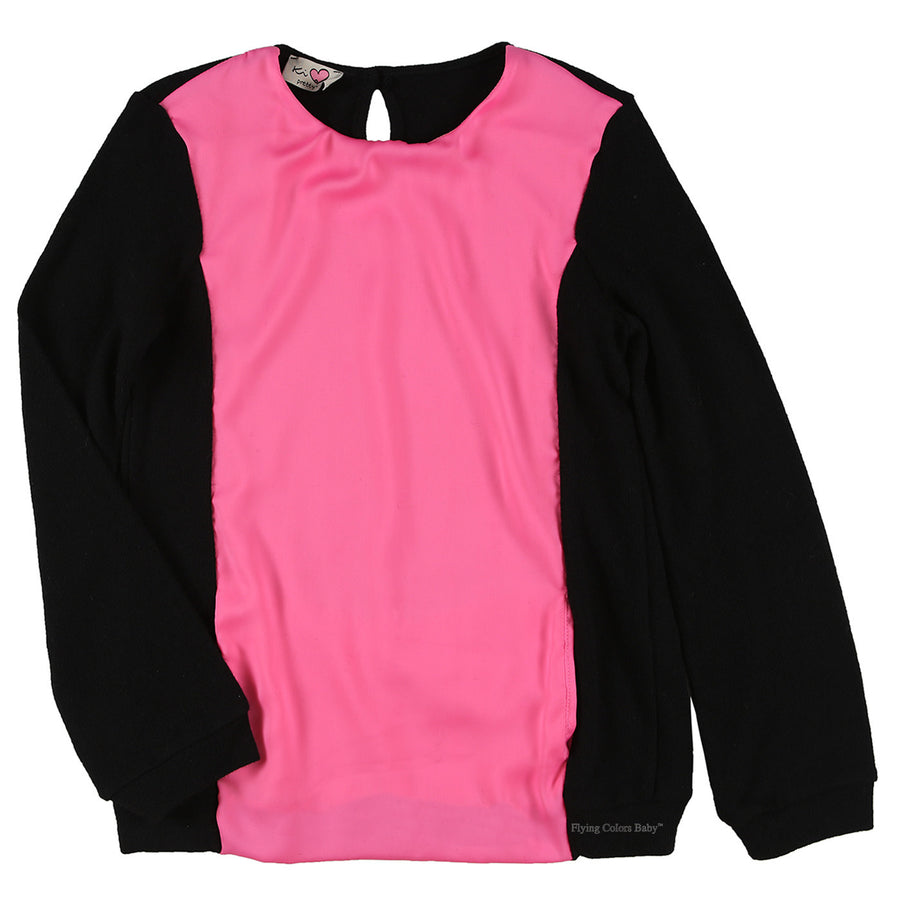 Long Sleeve Sweater with Pink Panel Front by KI6 - Flying Colors Baby
