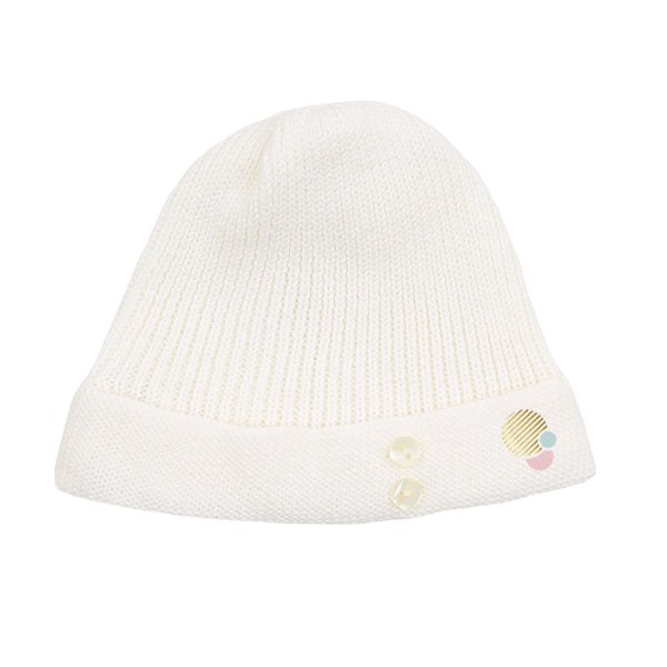 Button Ivory Ribbed Hat by Carmina