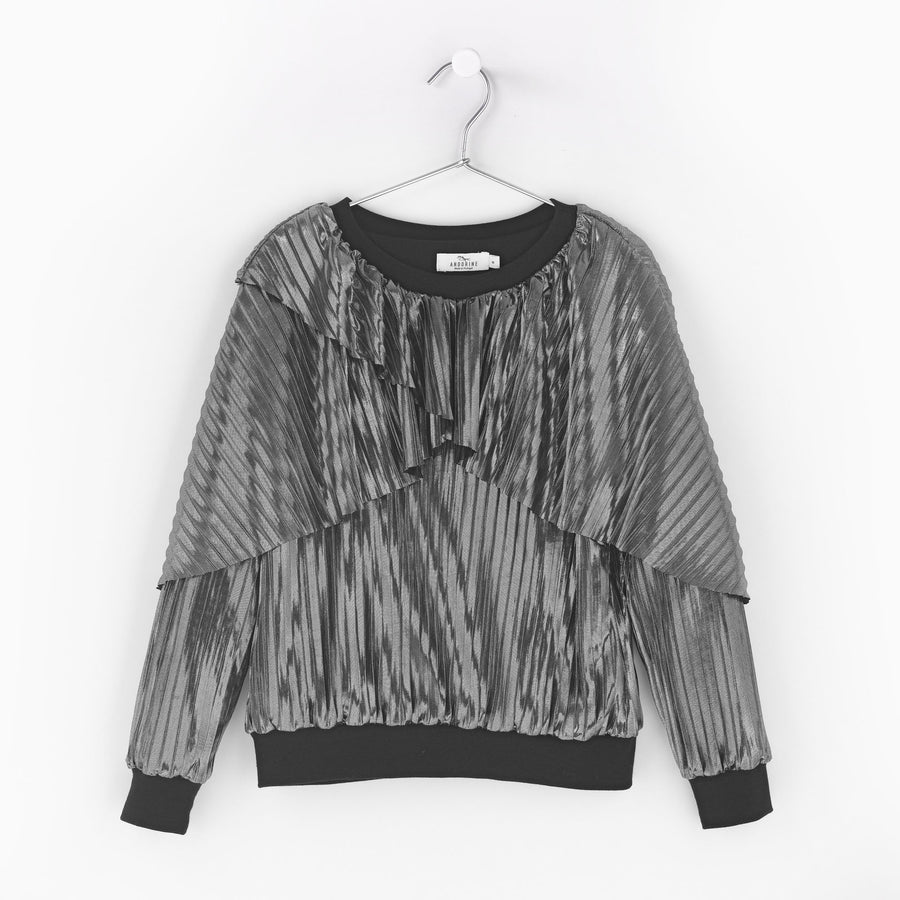 Metallic Pleated Sweater by Andorine