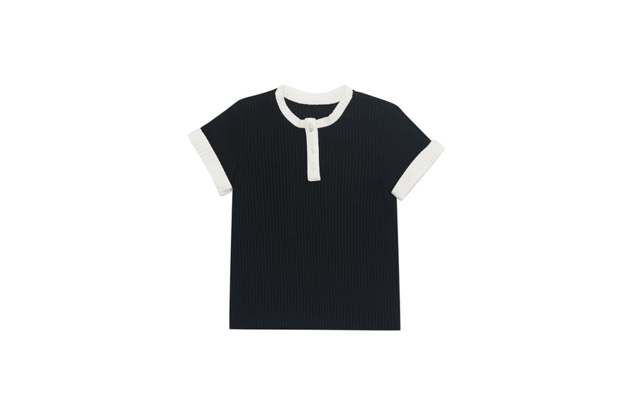 Black and White Henley Tee by Garcon A Moi