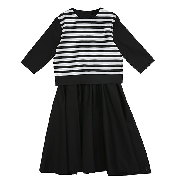 Black and Silver Stripe Dress by Exhibit Black Soho