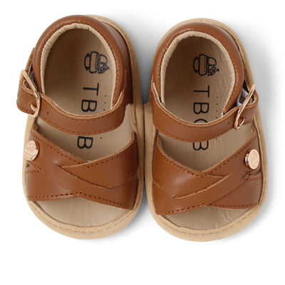 TBGB Luggage Brown Leather Baby Sandal