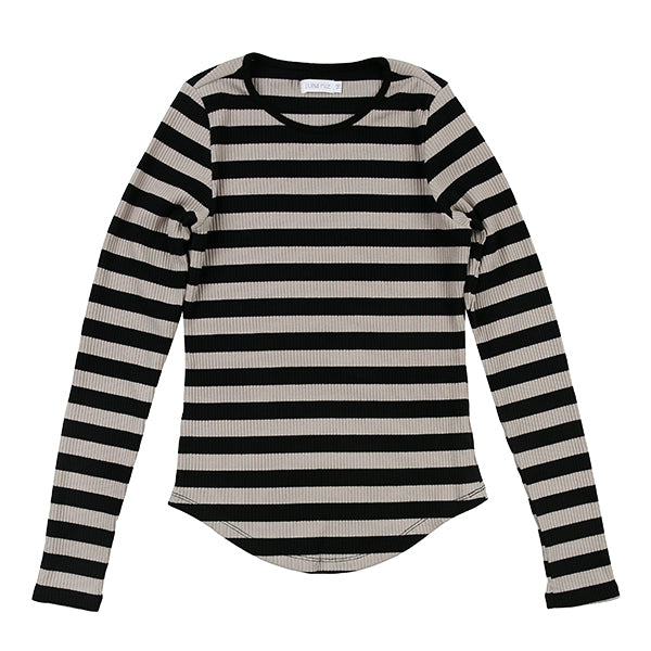 Black Beige Ribbed Stripe Tee by Luna Mae
