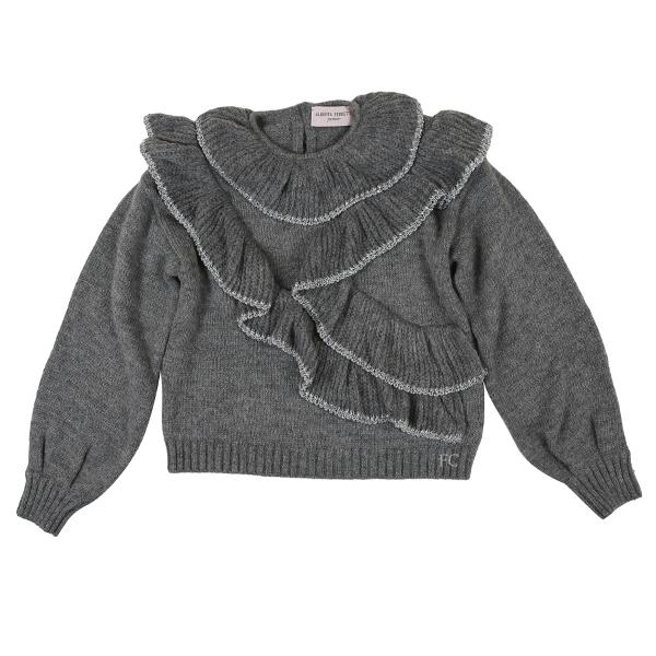 Grey Metallic Trim Sweater by Alberta Ferretti