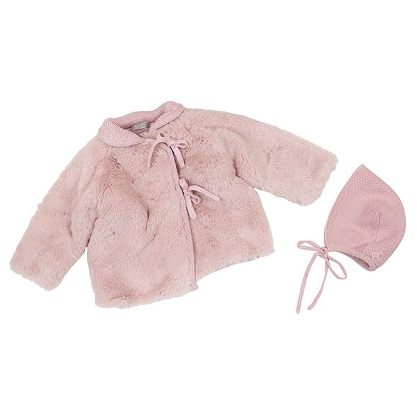 Fur Antique Pink Jacket and Bonnet by Carmina