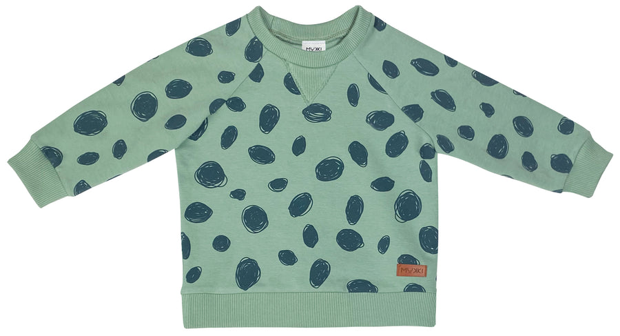 Baby Mint Splatter Irbis Sweatshirt by Mukki Kids
