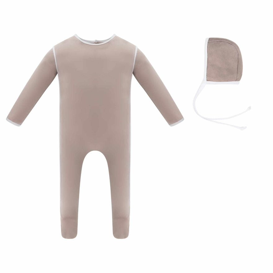 Piping Blush Pink Footie & Bonnet Set by Ely's & Co