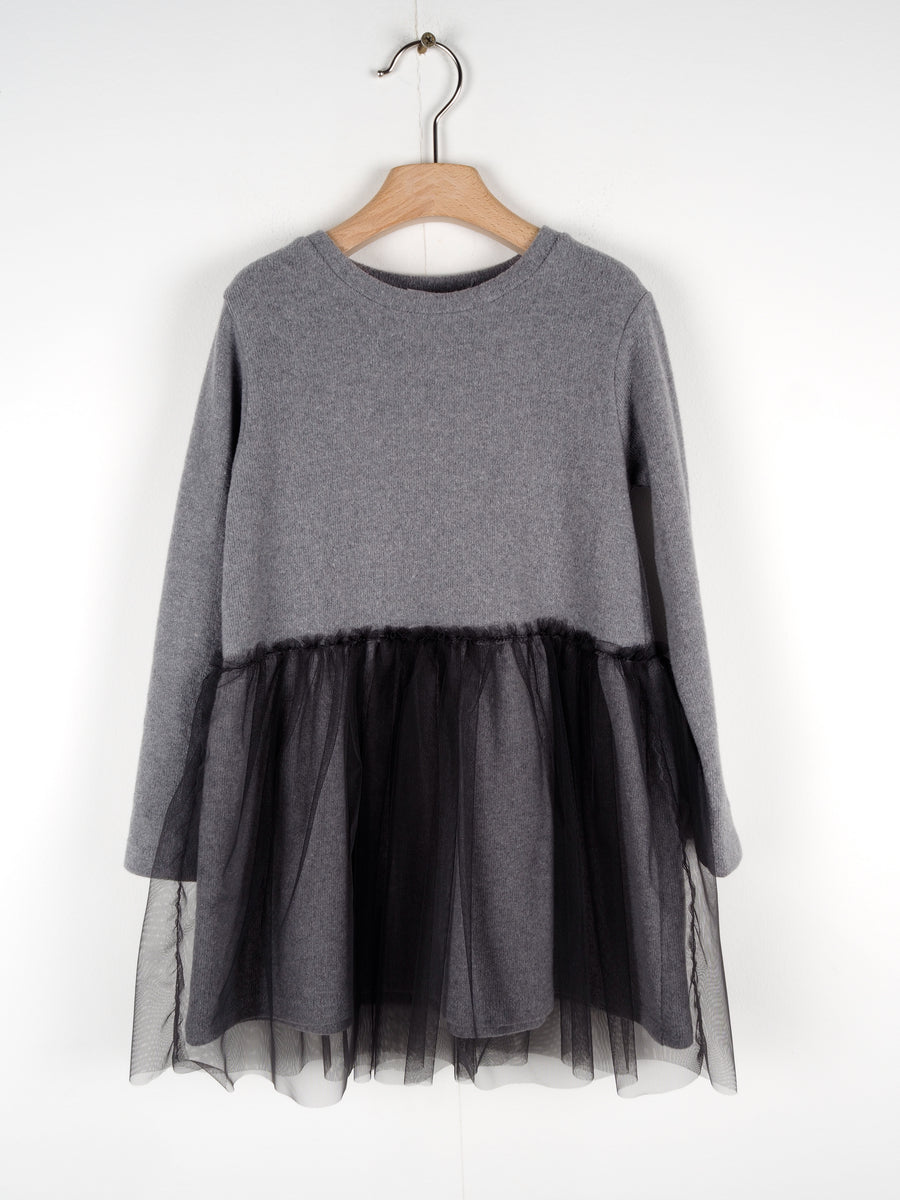 Grey Tulle Dress by Le Petit Coco