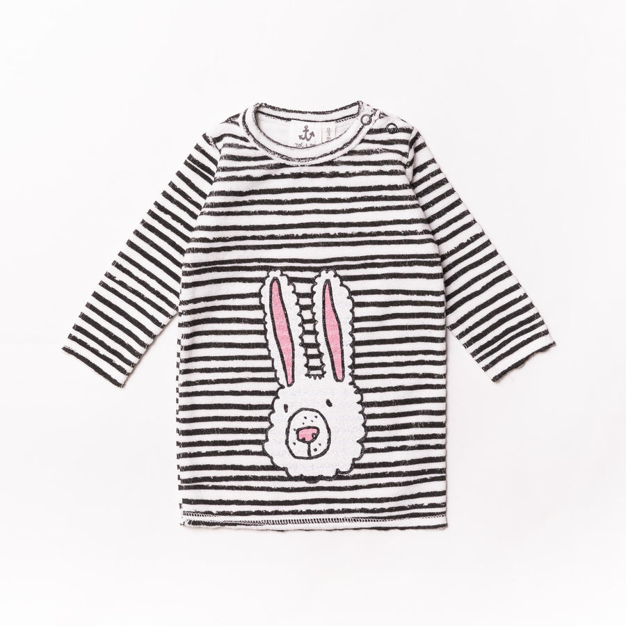 Black Striped Terry Baby Sweater by Noe & Zoe