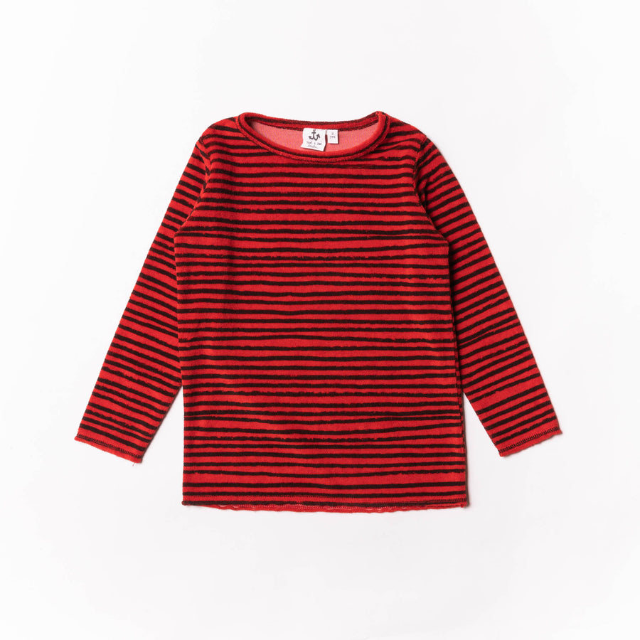 Red Striped Terry Tee by Noe & Zoe