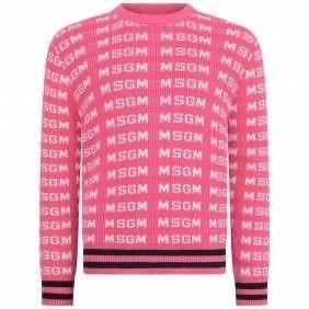 Fucsia Logo Sweater by MSGM