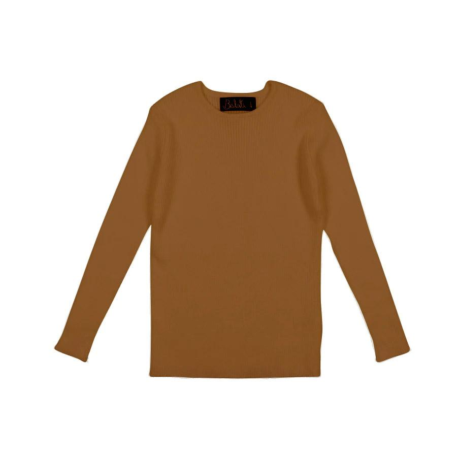 Camel Crewneck Basic Shell Knit by Belati