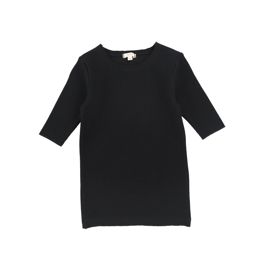 Black 3/4 Sleeve Ribbed T-Shirt by Lil Leggs